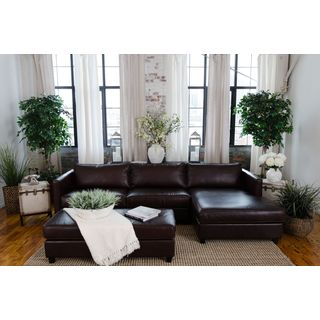 Urban Cappuccino Top Grain Leather Sectional Sofa and Ottoman