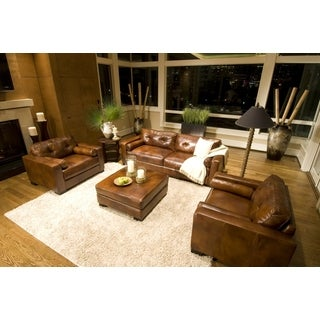 Soho Rustic Brown Top Grain Leather 4-Piece Living Room Set