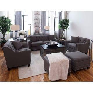 Santa Monica Collection Grey Linen Fabric 5-Piece Living Room Furniture Set