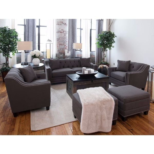 santa monica collection grey linen fabric 5 piece living room furniture set free shipping. Black Bedroom Furniture Sets. Home Design Ideas