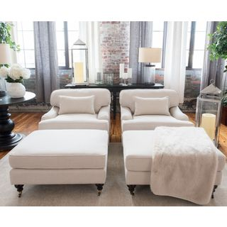 Saint Tropez 4-Piece Fabric Collection Including 2-Standard Chairs and 2-Standard Ottomans