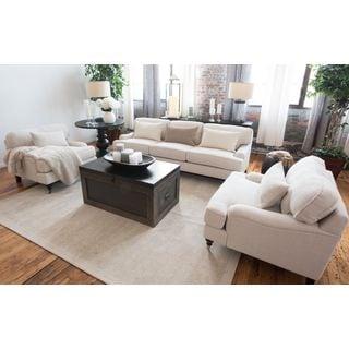 Saint Tropez White Fabric 3-Piece Living Room Furniture Set