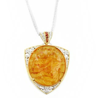 One-of-a-kind Michael Valitutti Carved Lion's Head in Amber with Orange Sapphire Pendant