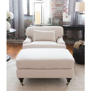 Saint Tropez Seashell White Linen Blend Fabric Accent Chair and Ottoman