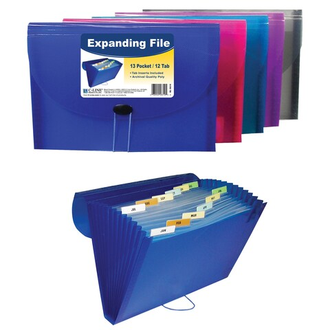"C Line Products Inc 58310 11"" L X 8-1/2"" W 13 Pocket Expanding File Assorted"