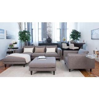 Retro Taupe Fabric 3-Piece Living Room Furniture Set