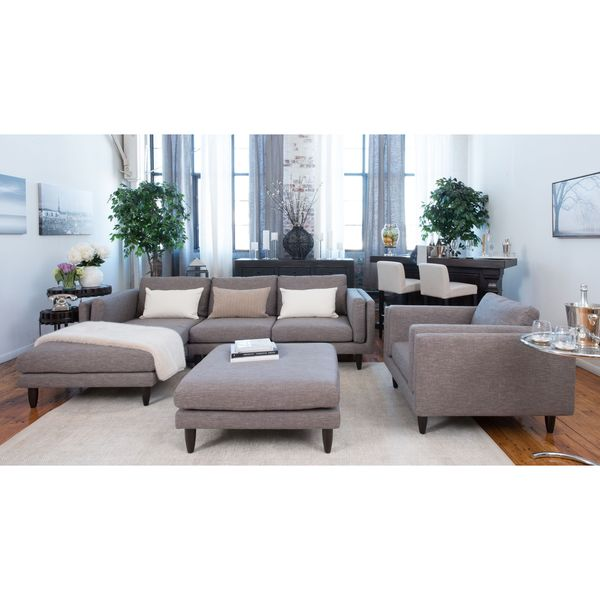 Retro Taupe Fabric 3-Piece Living Room Furniture Set