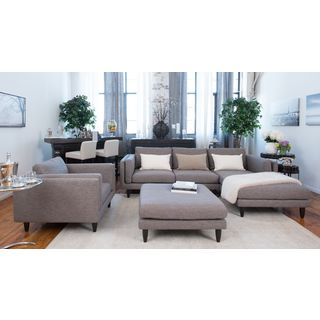 Retro Taupe Fabric 3-piece Left Sectional Set