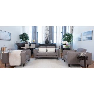 Retro Fabric Collection 3-Piece Loveseat and 2 Standard Chairs In Taupe