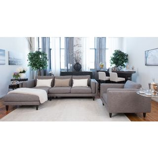 Retro Fabric Collection 2-Piece Sectional (Right Arm Facing Loveseat and Left Arm Facing Chaise) and Standard Chair In Taupe