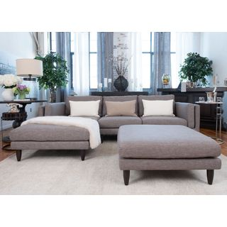 Retro Collection Taupe Fabric Sectional Sofa and Ottoman