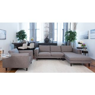Elements Fine Home Furnishings Retro Fabric Collection Taupe Fabric 2-piece Sectional and Standard Chair Set