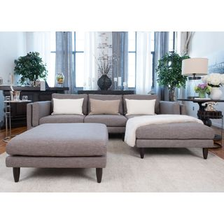 Retro Fabric Collection Taupe Wood/Polyurethane 2-piece Sectional Cocktail Ottoman