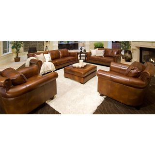 Paladia Rustic Top Grain Leather 5-piece Living Room Collection
