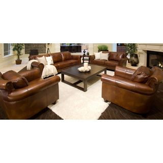 Paladia Rustic Brown Top Grain Leather 4-Piece Living Room Set