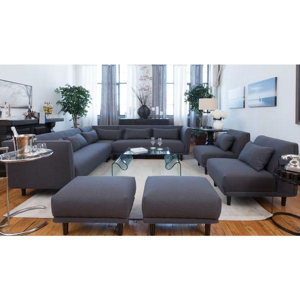Shop Manhattan Concrete Grey Fabric 5 Piece Living Room Furniture Sofa Set Free Shipping Today