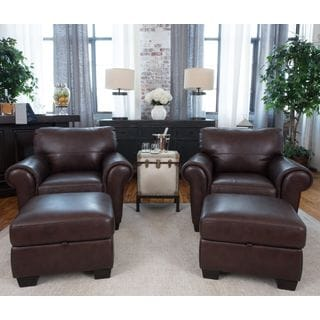 Lodge Coco Top Grain Leather 4-Piece Chair and Ottoman Set