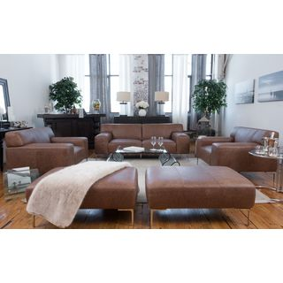 Industrial 5-Piece Top Grain Leather Set Including Sofa, 2 Oversized Chairs, and 2 Oversized Ottomans In Chestnut
