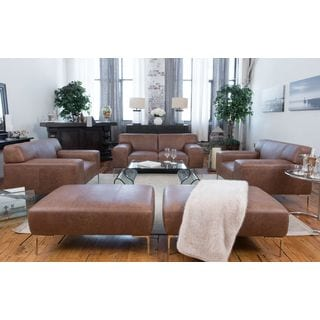 Industrial Chestnut 5-piece Top-grain Leather Seating Set