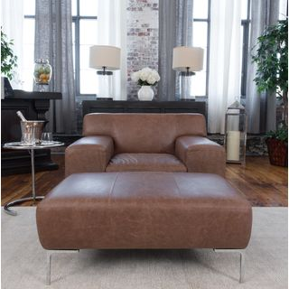 Industrial 2-Piece Top Grain Leather Set With Oversized Chair and Oversized Ottoman in Chestnut