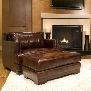 Davis Saddle Top Grain Leather Accent Chair and Ottoman