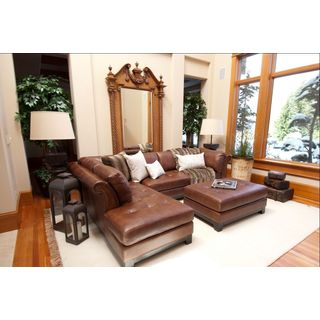 Corsario Top-grain Leather Sectional Set in Bourbon