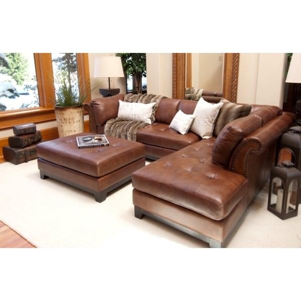 Corsario Bourbon Top Grain Leather Sectional Sofa And
