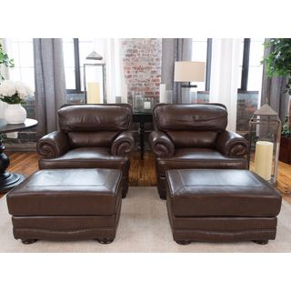 Charleston Toast Brown Top Grain Leather 4-Piece Chair and Ottoman Set