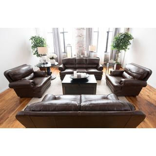 Charleston Toast Top Grain Leather 4-piece Living Room Collection
