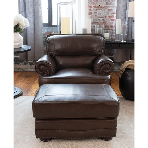 Charleston 2-Piece Top Grain Leather Collection in Toast including 1-Standard Chair and 1-Standard Ottoman (As Is Item)
