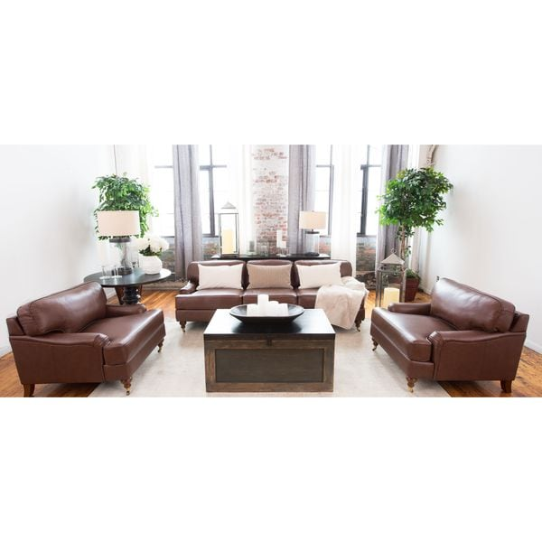Shop Athens Bourbon Top Grain Leather 3 Piece Living Room Set Free Shipping Today Overstock