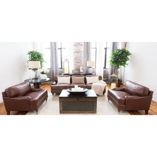 Athens Bourbon Top Grain Leather 3 Piece Living Room Set Free Shipping Today