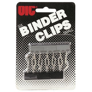 """Officemate International BC-2B/30020 3/4"""" Black Binder Clips 6 Count"""