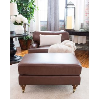 Athens Bourbon Brown Top Grain Leather Arm Chair and Ottoman