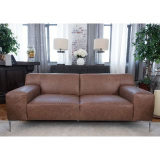 Industrial Chestnut Top Grain Leather Sofa