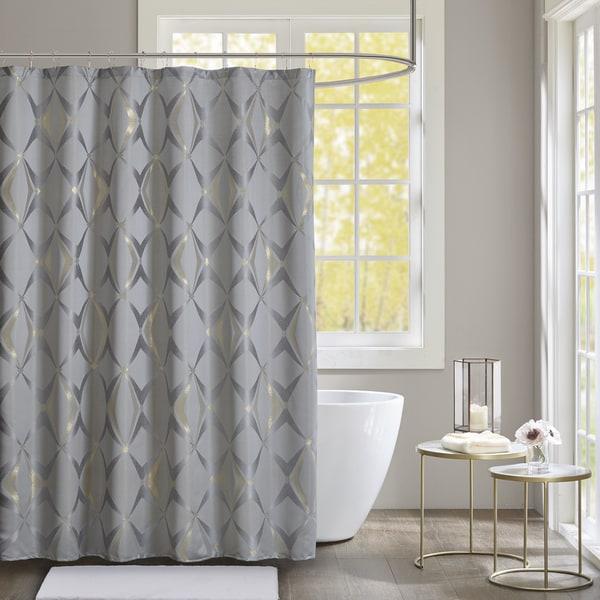 Madison Park Sierra Grey Jacquard Shower Curtain
