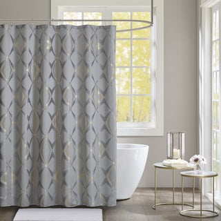 Madison Park Sierra Grey Jacquard Shower Curtain