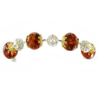 One-of-a-kind Michael Valitutti Full Drilled Amber Beads with Orange Sapphire Bracelet