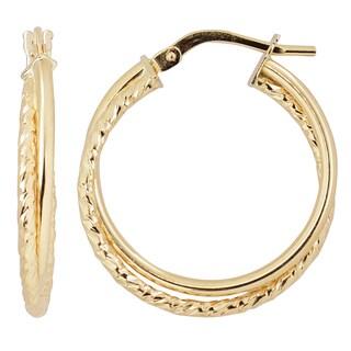 Fremada Italian 14k Yellow Gold High Polish Double Hoop Earrings
