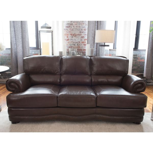 Shop Charleston Top Grain Leather Sofa Free Shipping