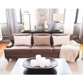 Athens Top Grain Leather Sofa in Bourbon