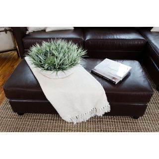 Urban Top Grain Leather Rectangle Cocktail Ottoman in Cappuccino