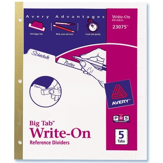 Avery 23075 5 Count Clear Write-On Dividers