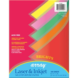 "Pacon 101049 8-1/2"" X 11"" Brights Bond Paper Assorted Colors 100 Count"
