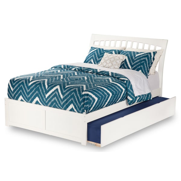 Orleans White Full Flat Panel Foot Board Bed with Urban Trundle