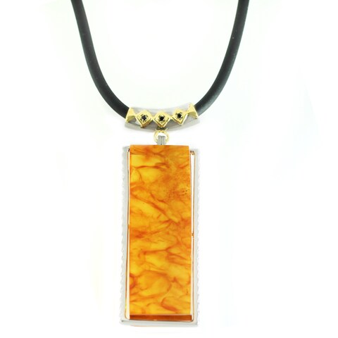 Michael Valitutti Amber and Black Spinel Pendant