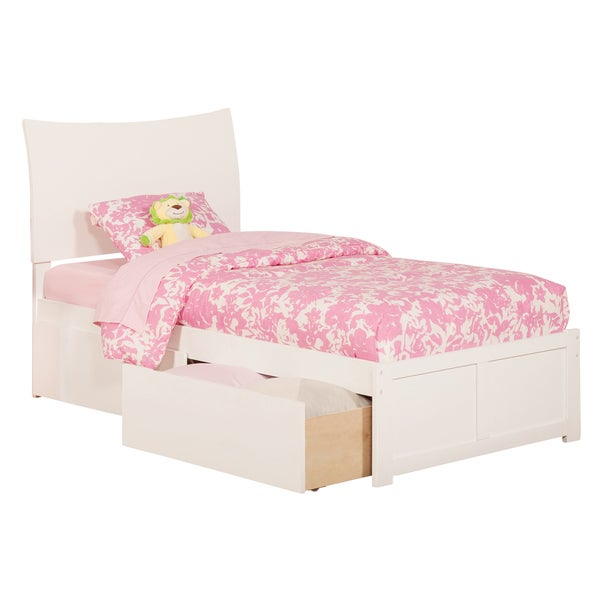Atlantic Soho White Twin-sized Flat-panel Bed with 2 Urban Bed Drawers