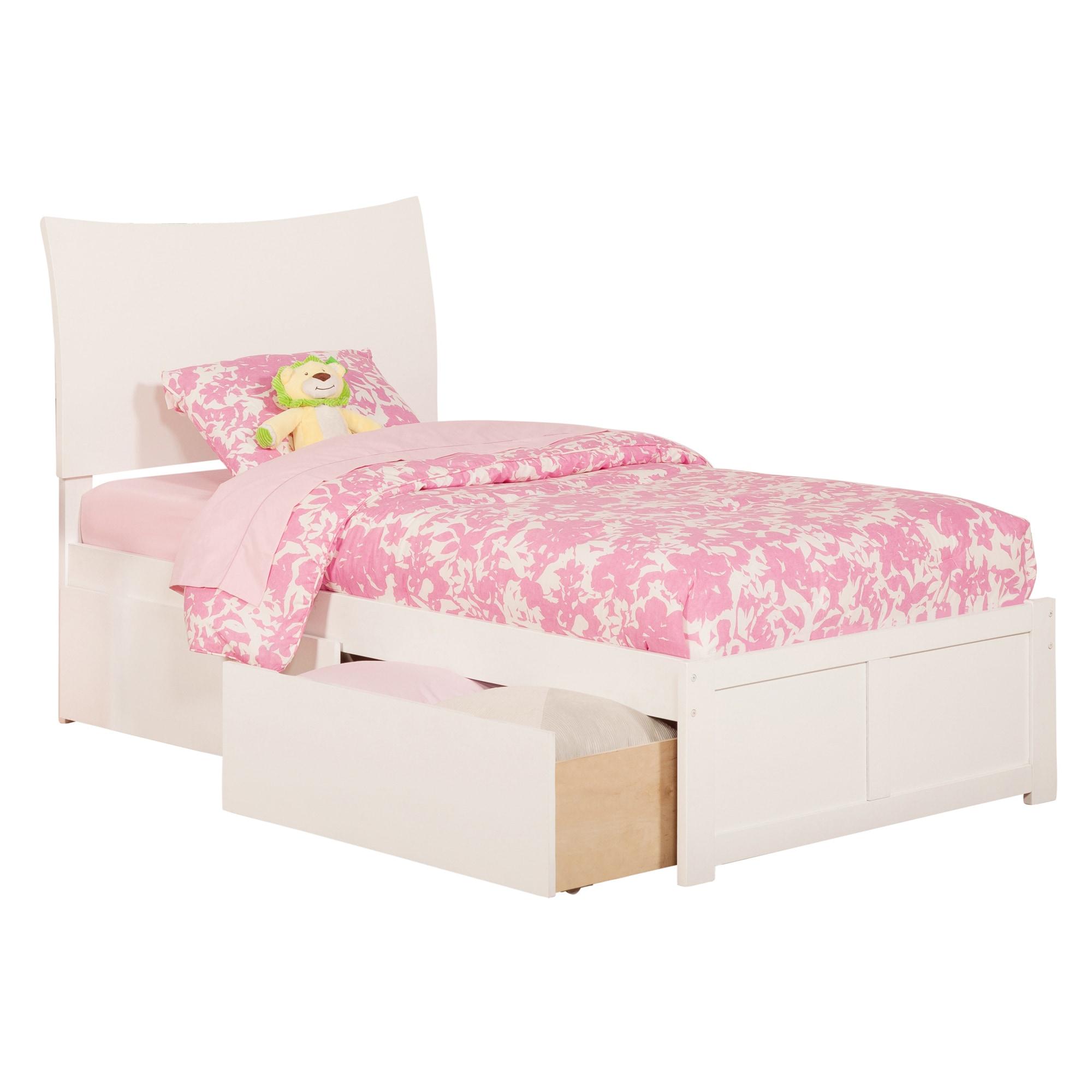 Atlantic Furniture Soho White Twin XL Flat Panel Footboar...