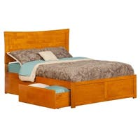 Metro Full Platform Bed with Flat Panel Foot Board and 2 Urban Bed Drawers in Caramel