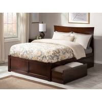 Metro Full Platform Bed with Flat Panel Foot Board and 2 Urban Bed Drawers in Walnut